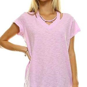 L Ma Belle Cold Shoulder V Neck Tee Shirt Cotton